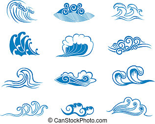 símbolos, conjunto, onda