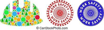 símbolos, constructor, seguridad, mosaico, trabajo, hardhat, impresiones, navidad, caucho, rasguñado