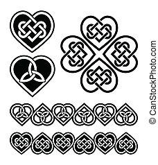 símbolos, corazón, nudo, -, celta, vector