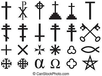 símbolos, cristiano, religioso