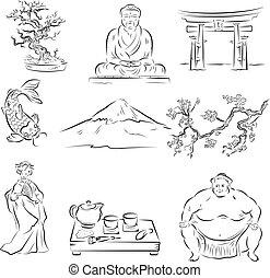 símbolos, cultura, japonés
