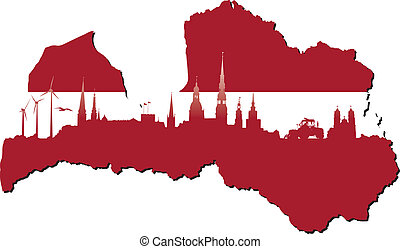Símbolos de Letonia de negocios e historia de estado