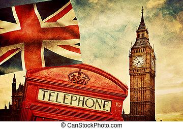 Símbolos de Londres, Inglaterra, el Reino Unido. Cabina roja, Big Ben, la bandera del sindicato