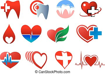 símbolos, donación, odontología, sangre, cardiología