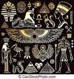 símbolos, egipto, aislado, conjunto, vector