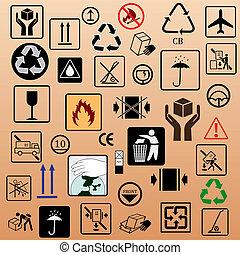 símbolos, embalaje, conjunto