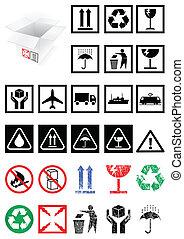 símbolos, embalaje, conjunto, labels.