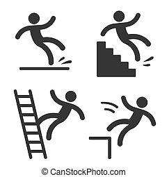 símbolos, falling., precaución, hombre