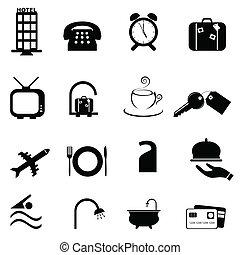 símbolos, hotel, conjunto, icono