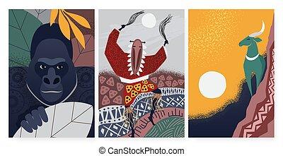 símbolos, kudu, decorativo, étnico, áfrica, cultura, antílope, conjunto, configuración de animal, gorila