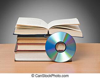 símbolos, libro, nuevo, abierto, dvd, viejo, almacenamiento, información, métodos