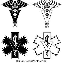 símbolos, médico, veterinario