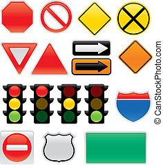 símbolos, mapa, señales de tráfico