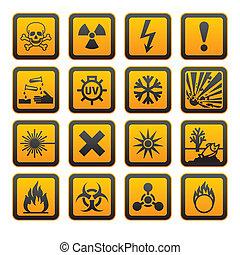 símbolos, naranja, vectors, muestra del peligro