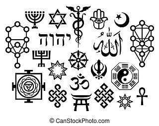 símbolos, oriental, sacral, religioso