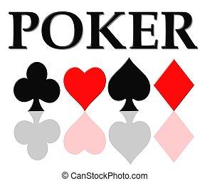 símbolos, póker, tarjeta