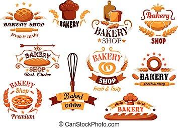 símbolos, panadería, bread, banderas, o
