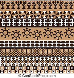 símbolos, patrón, africano, ornamentos, étnico