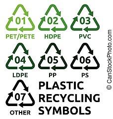 símbolos, reciclaje, plástico