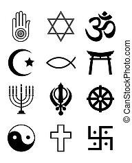 símbolos, religioso, blanco, negro, y