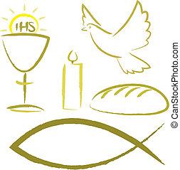 símbolos, religioso, -, santo, comunión