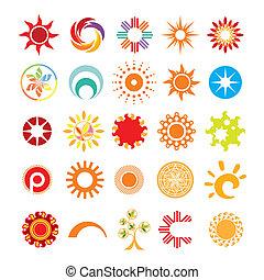 símbolos, sol, resumen, colección