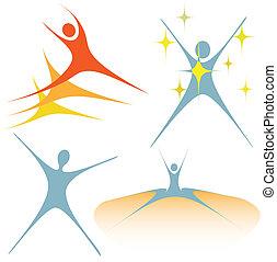 símbolos, swoosh, entusiasmado, conjunto, gente