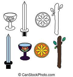 símbolos, tarot, traje