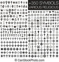 símbolos, vario, 350, vector, religio