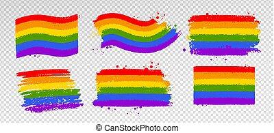 símbolos, vector, colección, lgbt, color, bandera