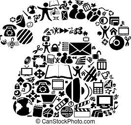 símbolos, vector, teléfono