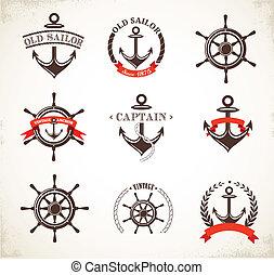 símbolos, vendimia, conjunto, náutico, iconos