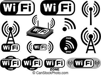 símbolos, wi - fi, vector, colección