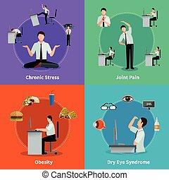 Síndrome de oficina 2x2 concepto de diseño