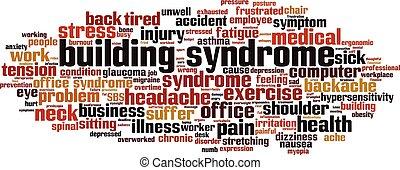 síndrome, nube, palabra, edificio