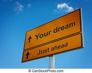 sólo, adelante, signo., sueño, su, camino