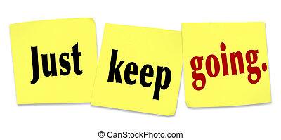 sólo, retener, actitud, yendo, determinación, ganando, persistencia