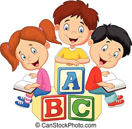s, libro, niños, caricatura, lectura
