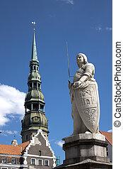 s., roland, cuadrado, letonia, monumento, central, riga