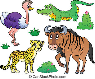 sabana, 2, animales, colección