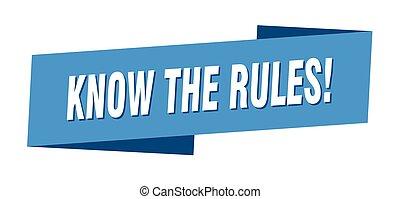 saber, etiqueta, reglas, bandera, señal, template., cinta
