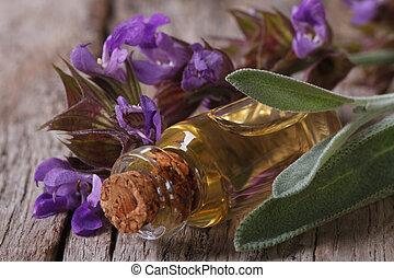 sabio, botella, fragante, vidrio, aceite
