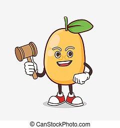 sabio, mascota, fruta, caricatura, carácter, juez, kumquat