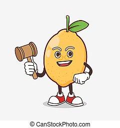 sabio, mascota, limón, fruta, caricatura, carácter, juez
