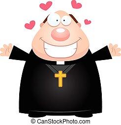sacerdote, abrazo, caricatura