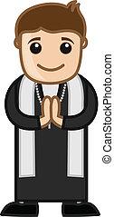 sacerdote, caricatura, feliz