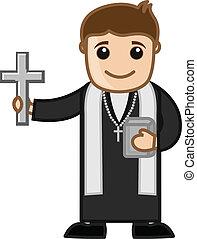 sacerdote, vector, cristiano, caricatura
