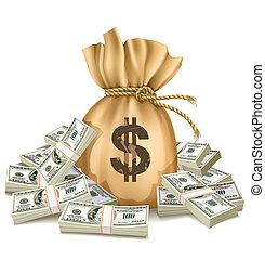 Sack con paquetes de dinero
