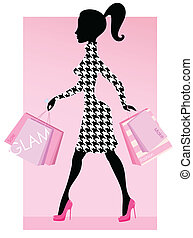 sacolas, elegante, mulher, moda, caminhando, compras, rosa, compras, consumo