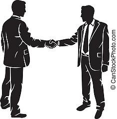 sacudida, hombres de negocios, manos